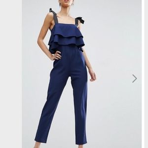 ASOS Tall Jumpsuit Double Ruffles & Bows NWT! 10